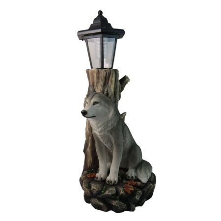 Patio Gift - Spirit Wolf Outdoor Solar Lantern Statue By | Lawn Garden Porch or Patio Wildlife Statue Decor And Gifts, This beautifully made spirit wolf guards over.., By DWK