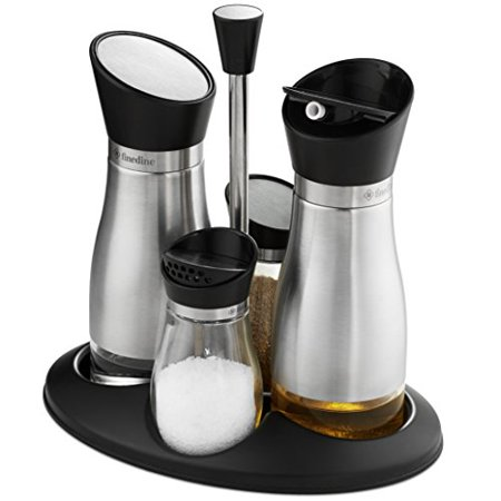 Premium glass cruet set stainless steel brushed finish, oil & vinegar dispenser and salt & pepper shaker