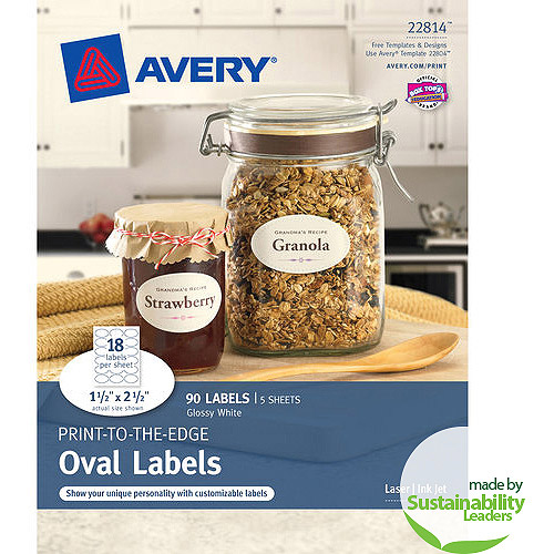 """Avery(R) Print-to-the-Edge True Print(TM) Glossy Oval Labels 22814, 1-1/2""""x 2-1/2"""", Pack of 90"""