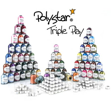Polystar Triple Play Embroidery Thread Package w/ 42 Country Colors, 23 Nick Colors and 144 Prewound Bobbins Bobbin Thread Tension