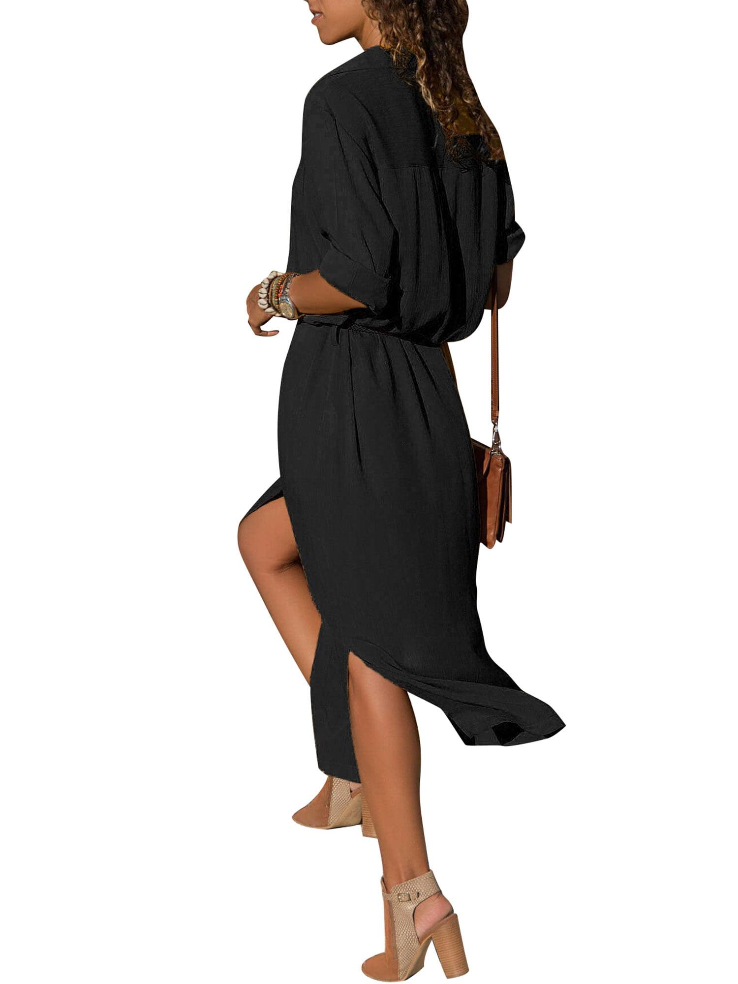 a3a240e56c8 Sexy Dance - Lapel V Neck Button Shirt Dresses for Women Maxi Long Sleeve  Casual Solid Color Loose Boho Tea Dress Side Split Sun Dress - Walmart.com