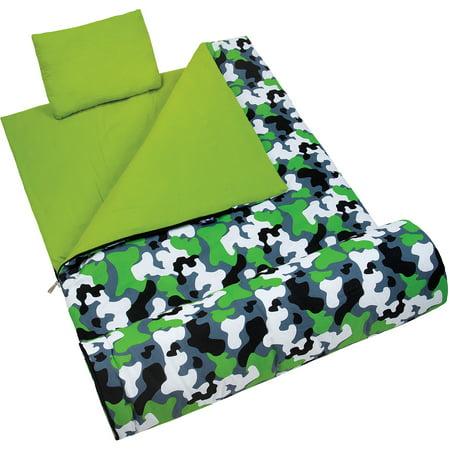 Wildkin Kids' Sleeping Bag, Green Camo