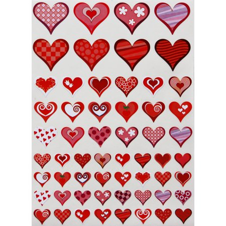 Red and Pink Hearts Stickers, Decorative heart shaped label for arts, favors and crafts in colors for Valentine's day, 3 sizes, Royal Green- 290 Pack - Crafts And Favors