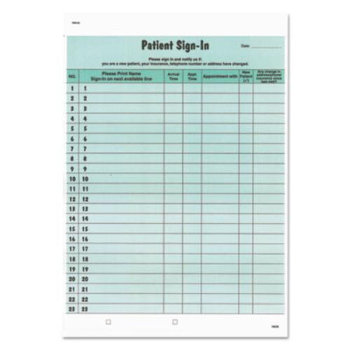 Tabbies 14532 Patient Sign-in Label Forms, 8 1/2 X 11 5/8, 125 Sheets/pack, Green