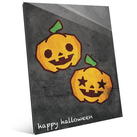 Click Wall Art 'Happy Halloween Pumpkins' Graphic Art on Plaque (Happy Halloween Clip Art)