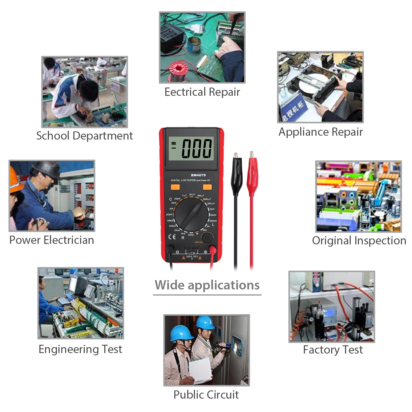 LCD 1999 BM4070 LCR Meter Self-discharge Capacitance Inductance Resistance IN US