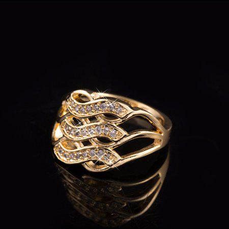 VENSE 3 Rows Curved Style Ladies Zircon Delicate Engagement Ring Female Wedding Ring - image 4 de 6