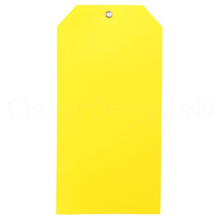 25 Pack - CleverDelights Large Yellow Plastic Tags - 6 25