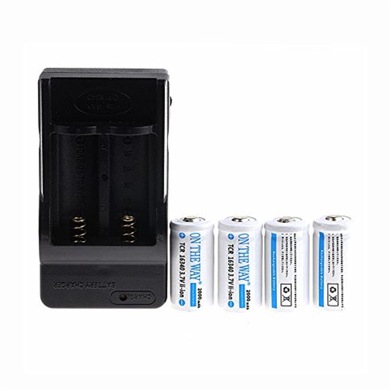 ON THE WAY®3.7VLi-ion16340 Battery Chager+4PCS 2000mAh163...