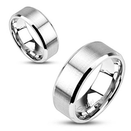 316l Stainless Steel Wedding Ring - Brushed Center Flat 8mm Wedding Band Beveled Edge Ring 316L Stainless Steel (SIZE: 9)
