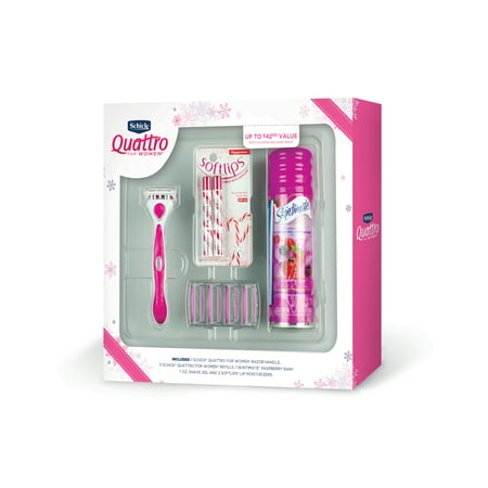 Schick Quattro for Women Razor Gift Set - Bonus 2 Softlips Lip Moisturizers