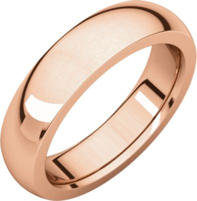 Roy Rose Jewelry 14K Rose Gold 5mm Wide Heavy Comfort Fit Wedding Band Ring Size 8