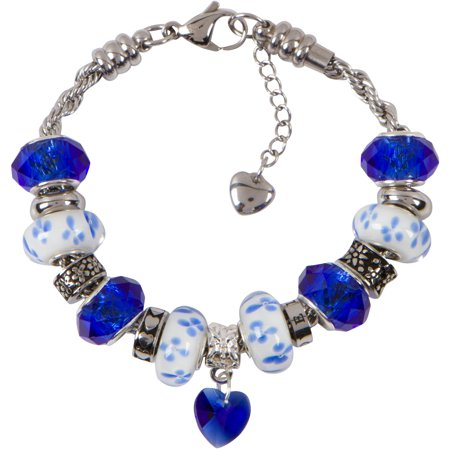 39cf5d1db12ff POWER CHARM BRACELET for Women & Girls, Steel Rope Chain and Sapphire Blue  Hearts and Flowers September Birthstone Charms, 6.5 Inch