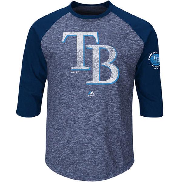 Tampa Bay Rays Majestic Big & Tall Ready to Go Fashion Raglan Three-Quarter Sleeve T-Shirt - Navy