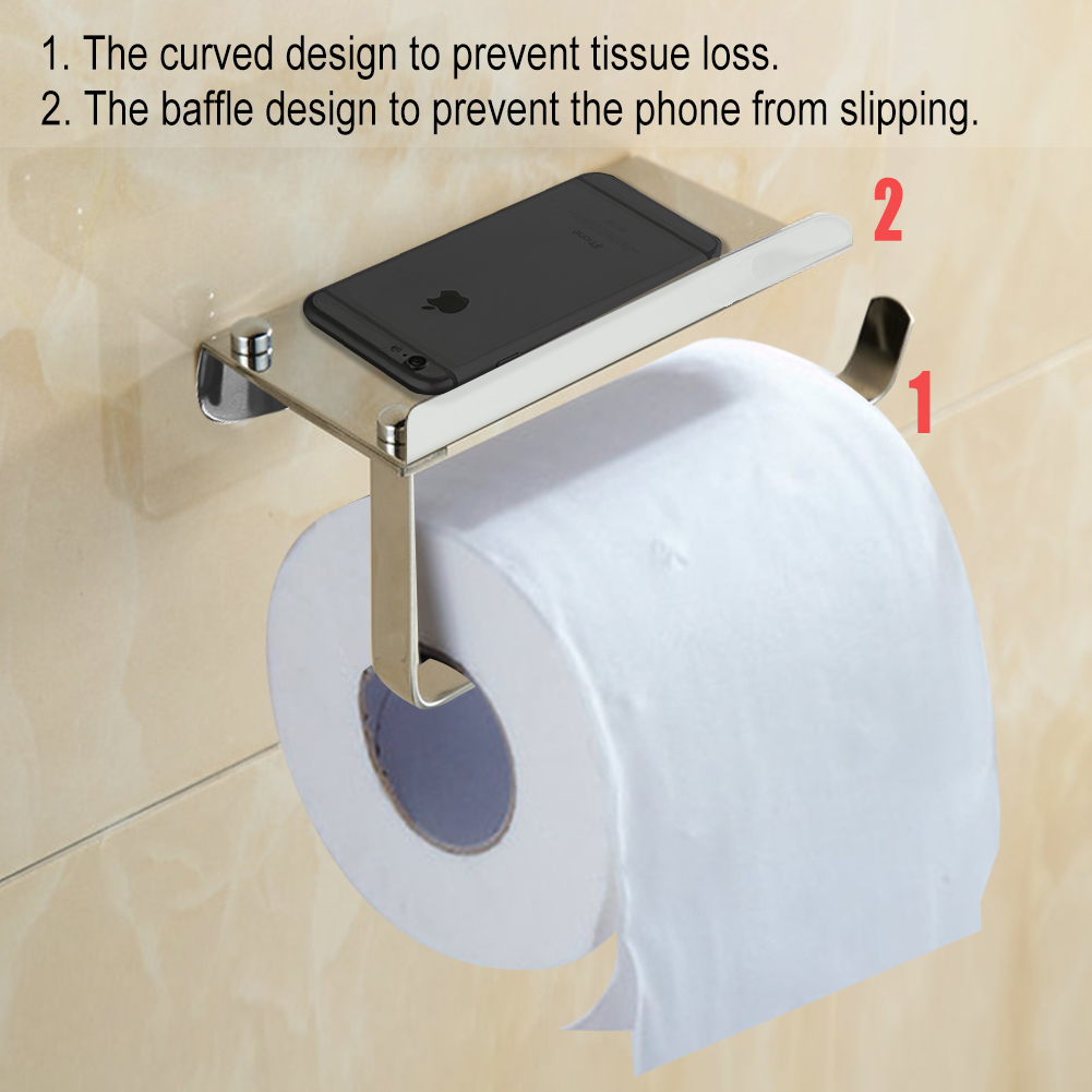 Charmant Bathroom Tissue Holder With Phone Shelf, Angle Simple SUS304 Stainless  Steel Toilet Paper Holder With Shelf Toilet Roll Bath Paper Roll Holder  Shelf ...