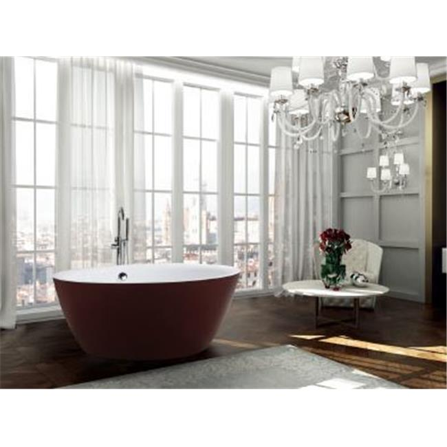 59 in. Freestanding Bathtub in Glossy Red