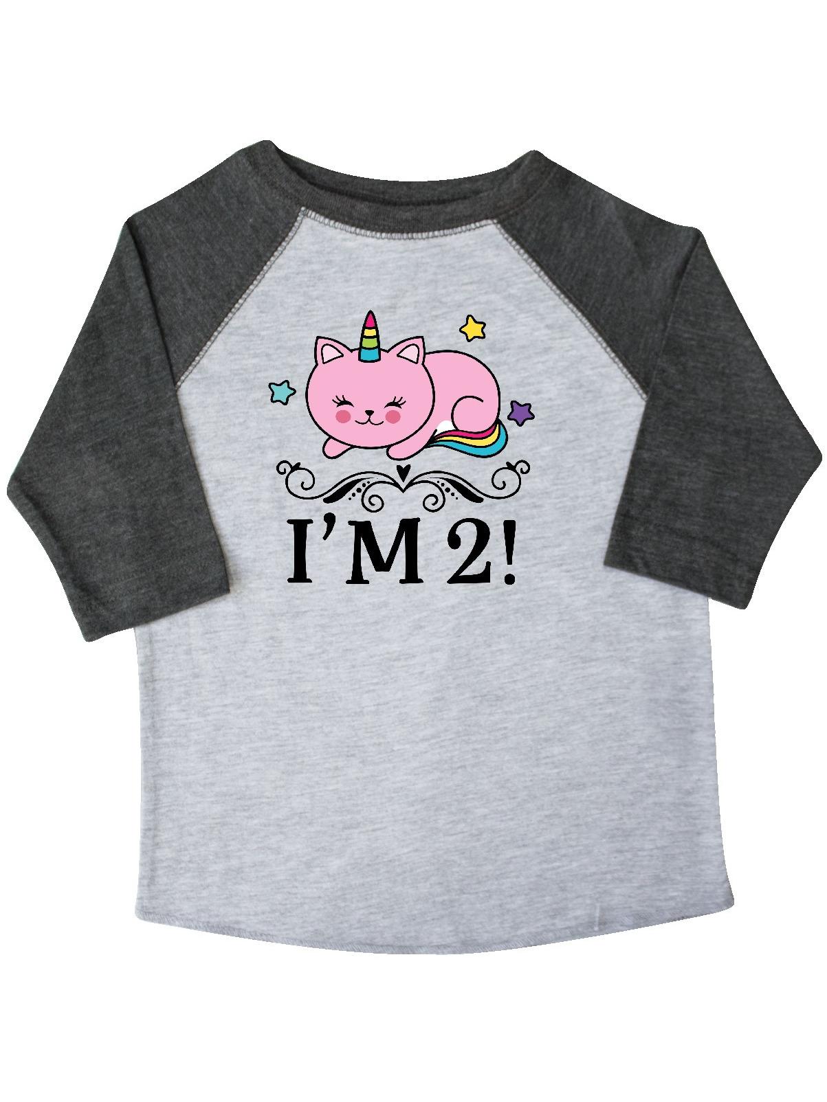 inktastic 2nd Birthday Cat Unicorn Girls Toddler T-Shirt