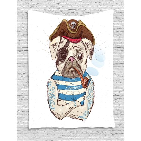 Pug Tapestry, Pirate Pug Conqueror of the Seas Pipe Skulls and Bones Hat Striped Sleeveless T-Shirt, Wall Hanging for Bedroom Living Room Dorm Decor, 40W X 60L Inches, Brown Blue, (Decor Sleeveless)