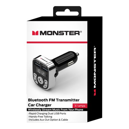 Monster Black Bluetooth FM Transmitter Car Charger
