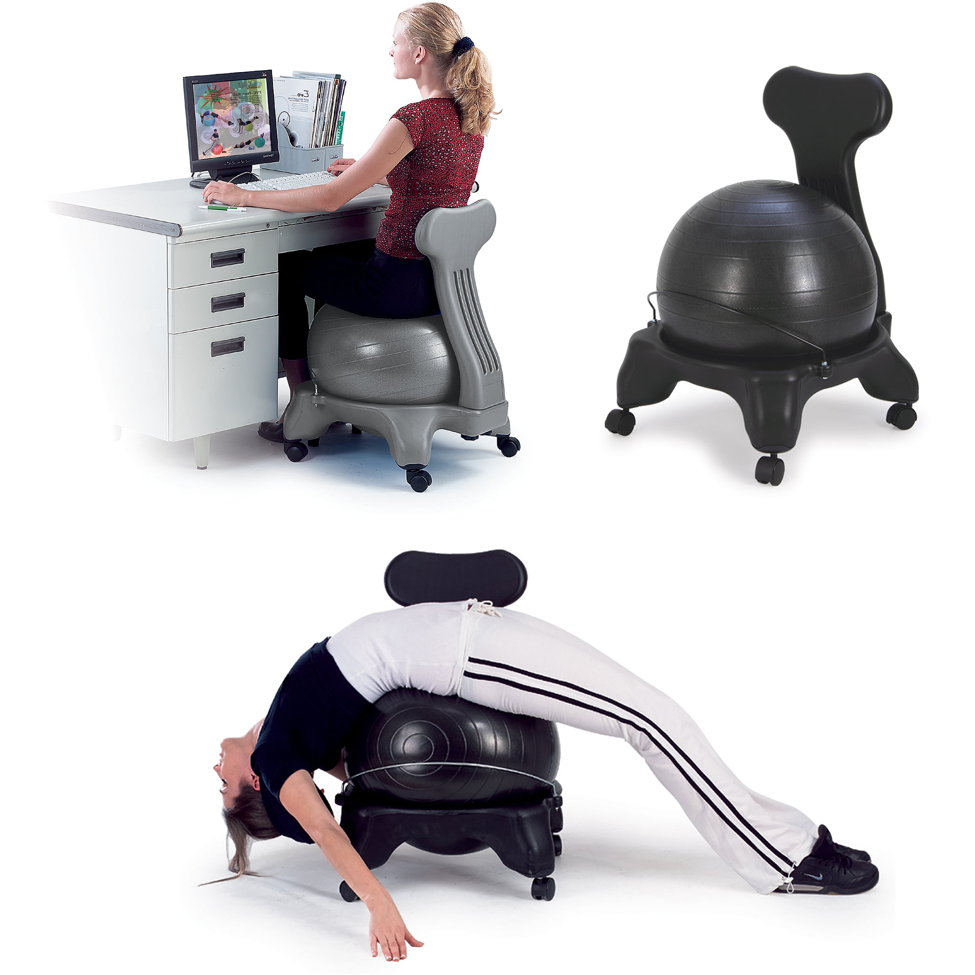 Gaiam Balance Ball Chair Black Walmart