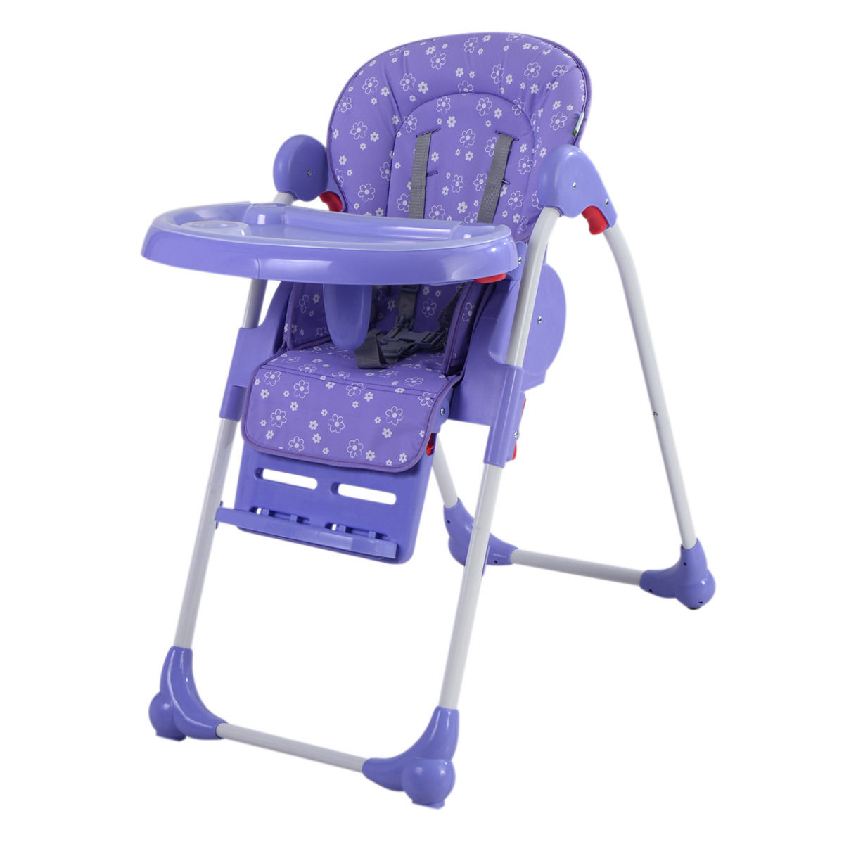 Goplus Adjustable Baby High Chair Infant Toddler Feeding Booster Seat Folding Purple