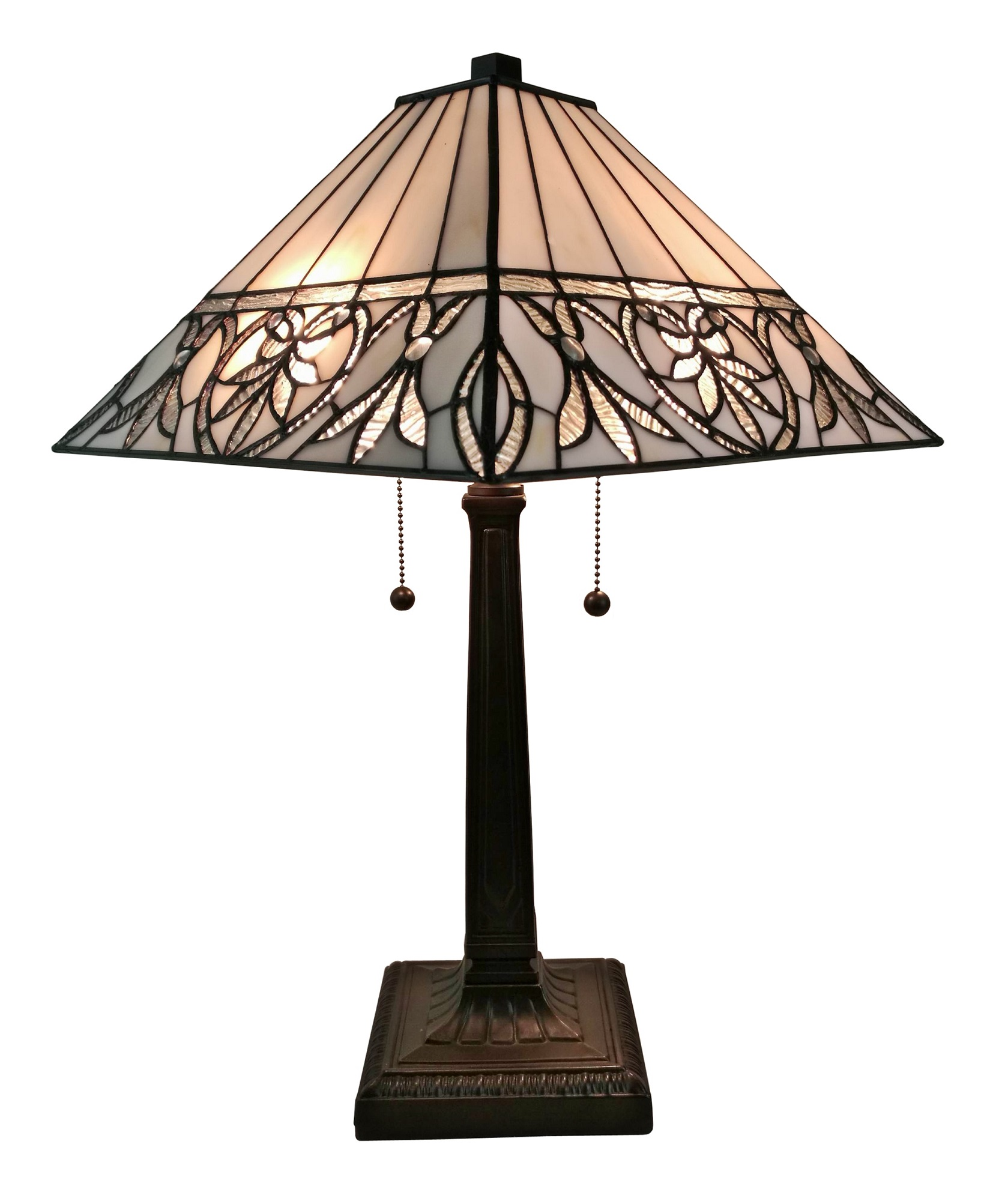 Amora Lighting AM303TL14 Tiffany Style White Floral Mission Table Lamp 22 Inches Tall by Amora Lighting