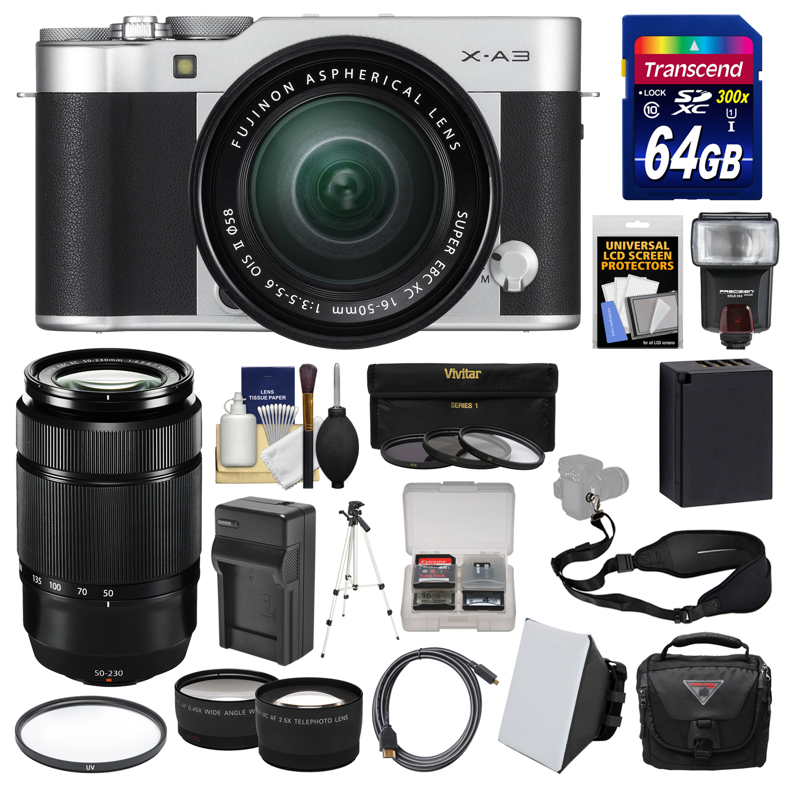 Fujifilm X-A3 Wi-Fi Digital Camera & 16-50mm II XC Lens (Silver) + 50-230