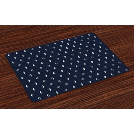 Indigo Placemats Set of 4 Stylized Square Shapes on Dark Blue Backdrop Navy Inspired Pattern Print, Washable Fabric Place Mats for Dining Room Kitchen Table Decor,Dark Blue and White, by Ambesonne ()