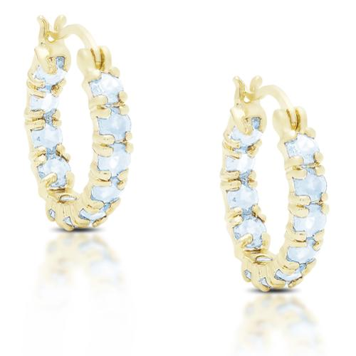 Dolce Giavonna Gold over Silver or Sterling Silver Blue Topaz Hoop Earrings Silver