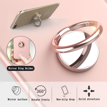 Fashion Finger Ring Phone Holder, Metal, 360° Rotation, For Smartphone Tablet PC
