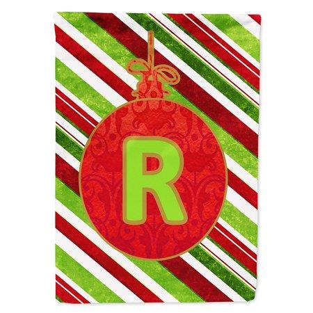 Christmas Oranment Holiday Letter R Monogram Initial Garden Flag CJ1039