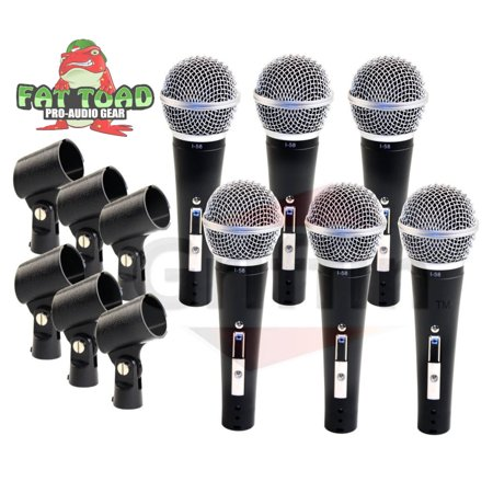 Professional Cardioid Dynamic Microphones & Clips (6 Pack) by Fat Toad Vocal Handheld, Unidirectional Mic Singing Microphone Designed for Music Stage Performances & Studio Recording or PA DJ (Best Toad For Rv)