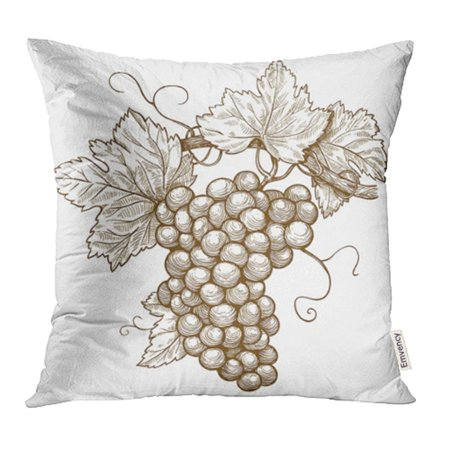 Punch Grape Leaf - CMFUN Wine of Engraving Grapes on the Branch White Vine Vineyard Leaf Woodcut Food Drink Pillowcase Cushion Cover 16x16 inch