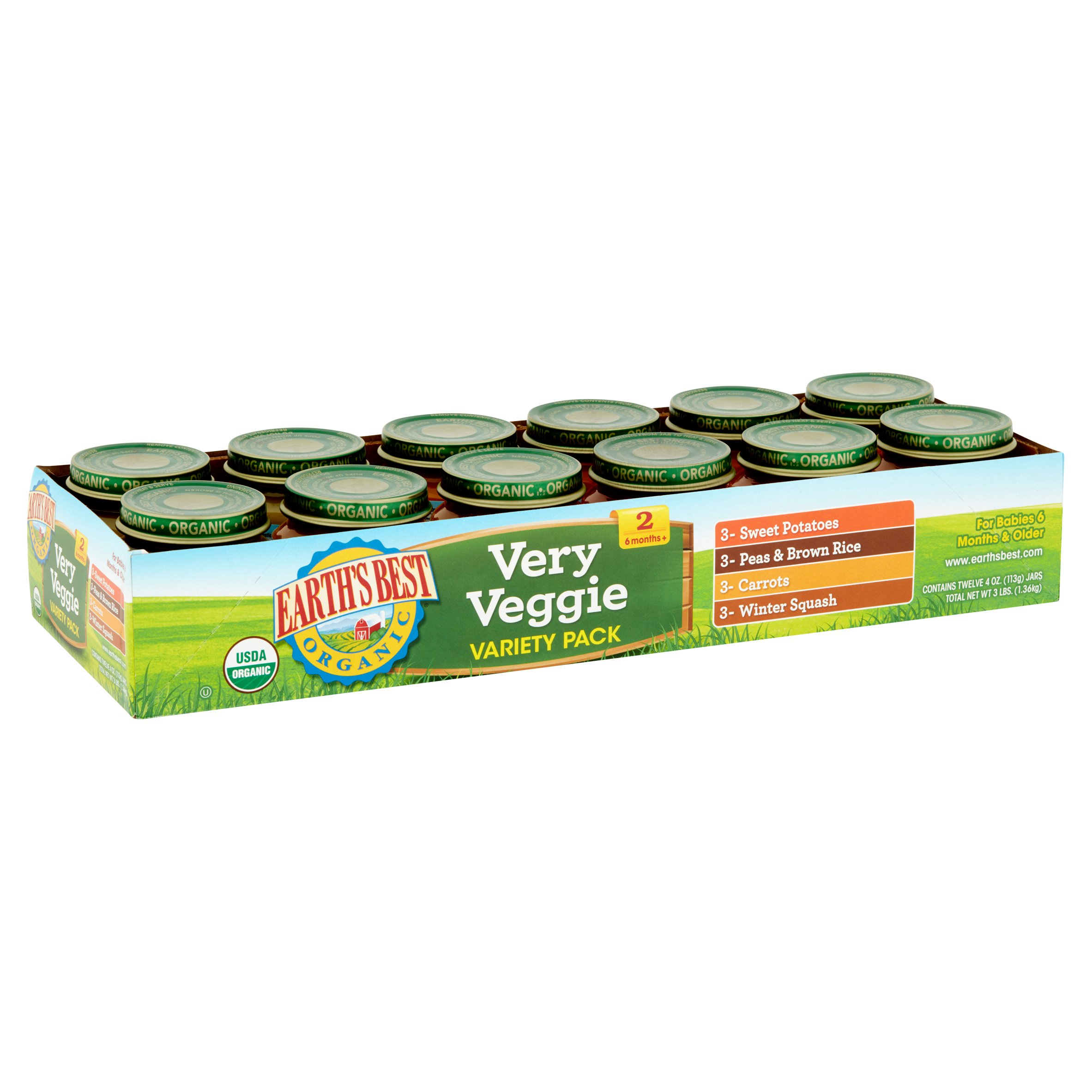 Earth's Best Organic Very Veggie Variety Pack 2 6 Months+, 4 oz, 12 count