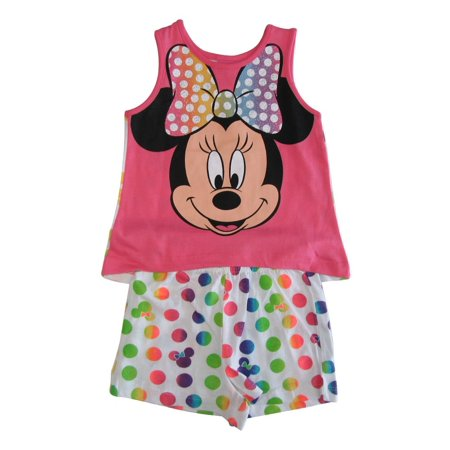 Little Girls Pink White Minnie Mouse Sleeveless 2 Pcs Outfit Set - Minnie Mouse Outfit For Women