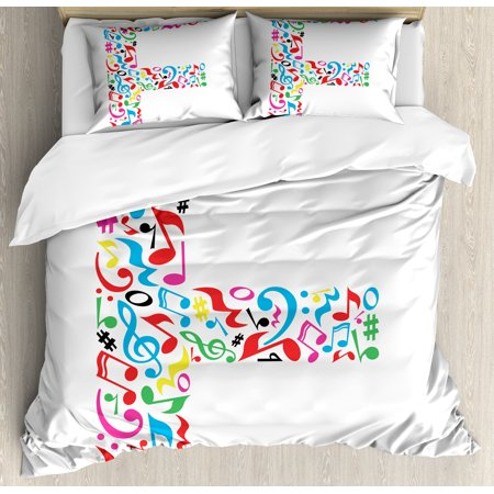 Letter F Queen Size Duvet Cover Set  Letter F Alphabet With Vibrant Music Notes Harmony Song Design Abc Graphic Print  Decorative 3 Piece Bedding Set With 2 Pillow Shams  Multicolor  By Ambesonne