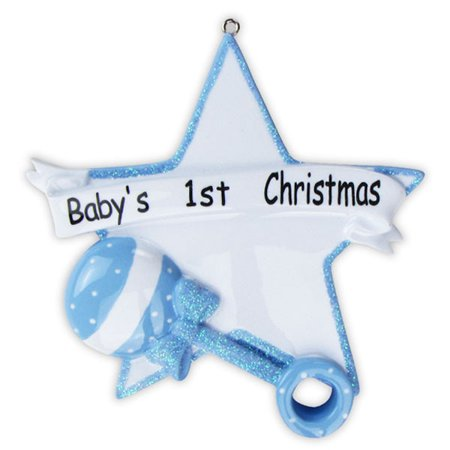 Blue Baby Boy Rattle Heart  Personalized Christmas Ornament DO-IT-YOURSELF