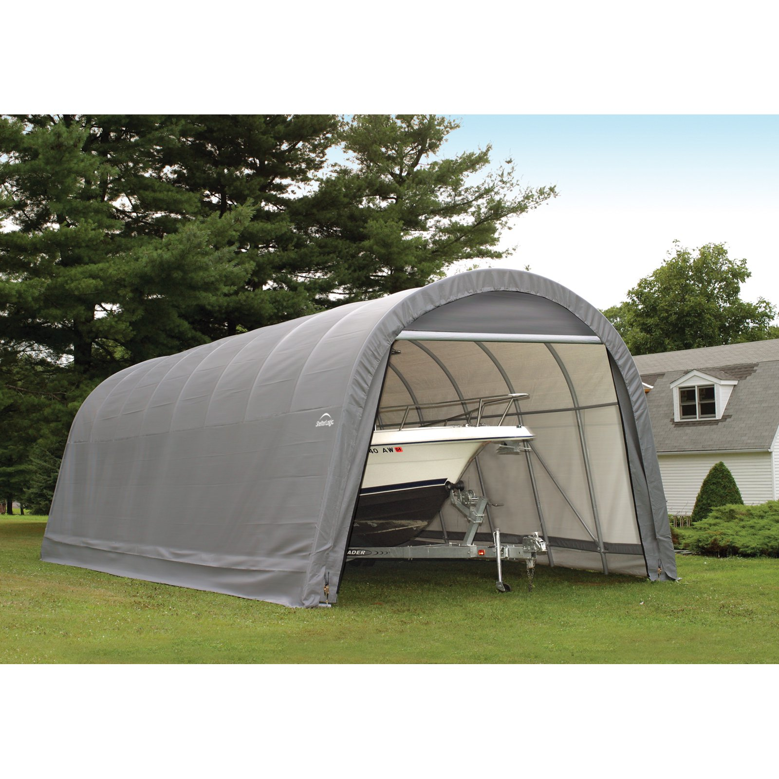 15' x 24' x 12' Round Style Shelter, Gray