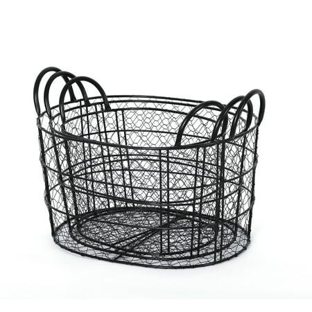 Handcrafted 4 Home Round Metal Wire Nesting Baskets, Black (Set of 3) - Black Metal Basket