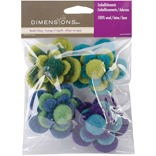 Dimensions Felt Embellishments, Layered Cool Flowers Multi-Colored