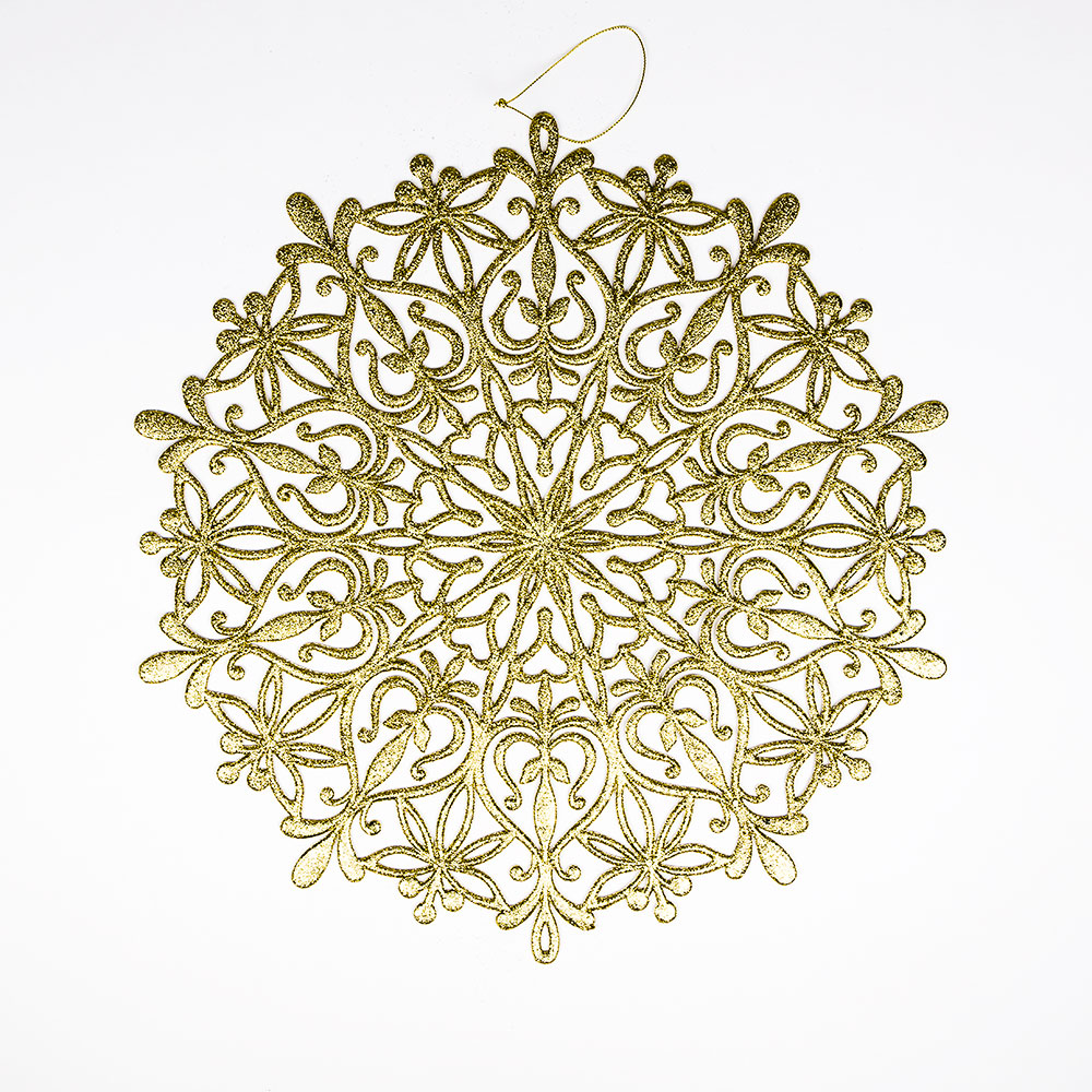"14.5"" Gold Glitter Round Snowflake Hanging Christmas Holiday Decoration"