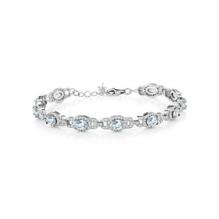 9.65 Ct Oval Sky Blue Topaz 925 Sterling Silver Bracelet Sky Blue Bracelets