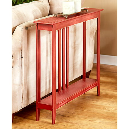 The Lakeside Collection Slim Space-Saving Accent Table (Antiqued Country Red) ()