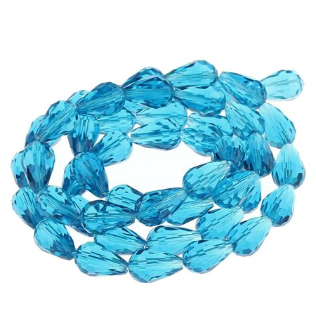 Sexy Sparkles 1 Strand, Teardrop Peacock Blue Faceted Glass Loose Beads 15x10mm (5/8