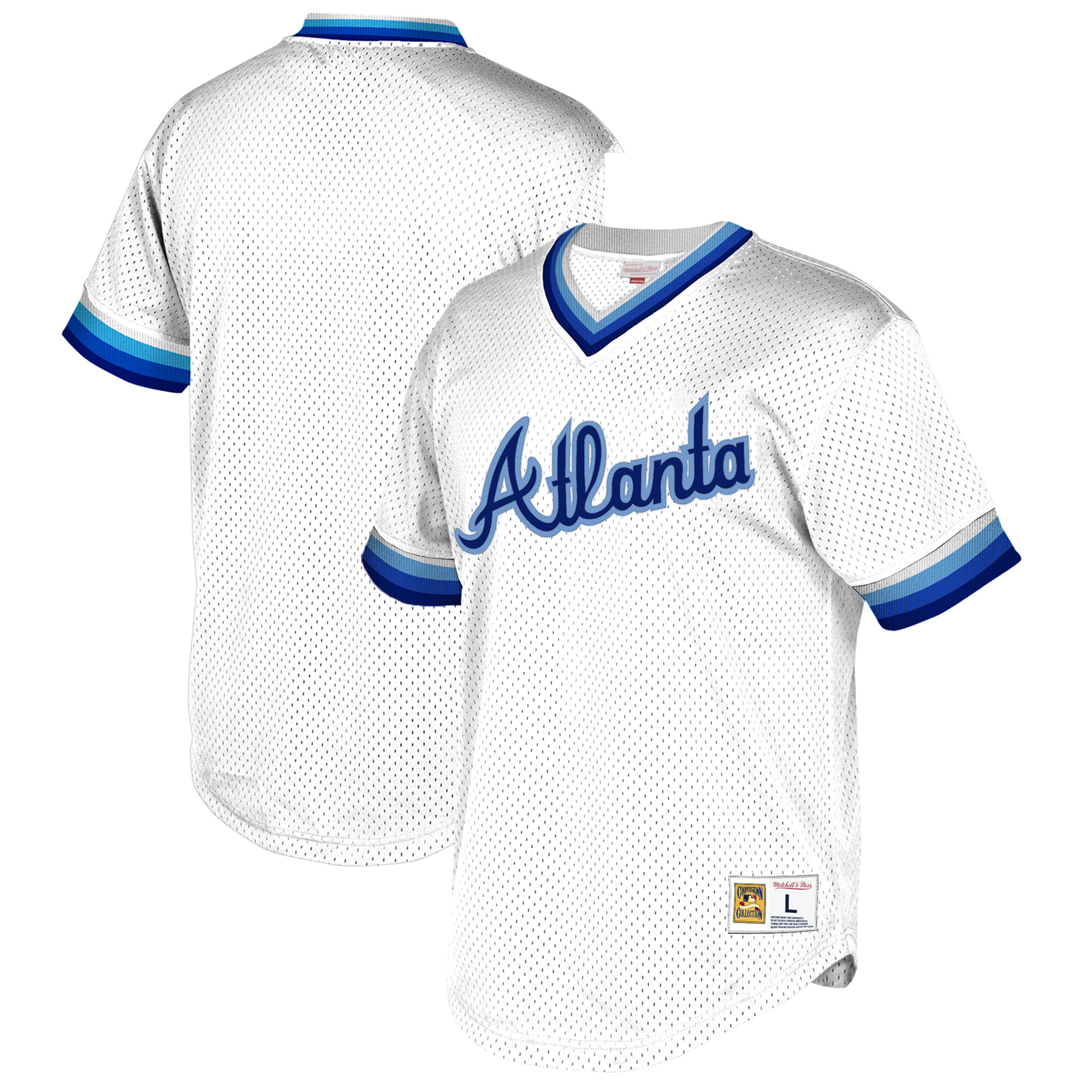 Atlanta Braves Mitchell & Ness Cooperstown Collection Mesh Wordmark V-Neck Jersey - White