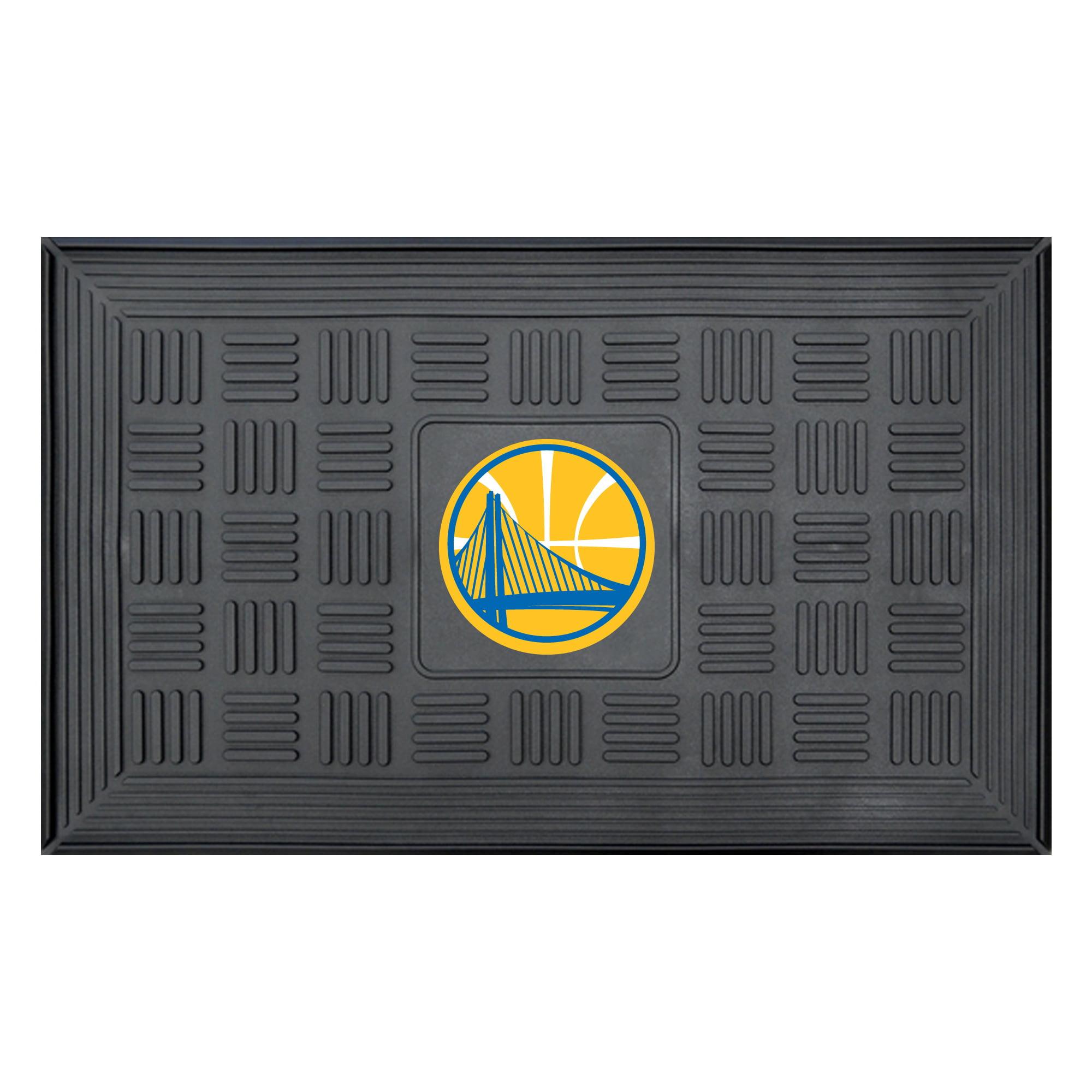 """Golden State Warriors 19"""" x 30"""" Vinyl Medallion Door Mat - Black - No Size"""