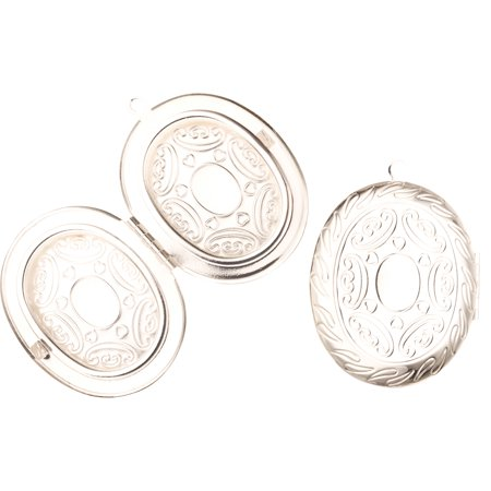 Oval Silver Plated Locket Filigree Frame Beading Supplies