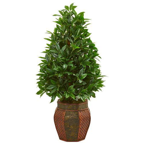 Fleur De Lis Living Bay Leaf Cone Artificial Foliage Topiary in Decorative Planter