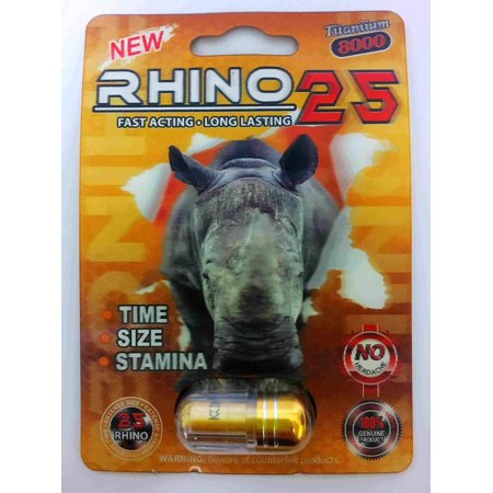 Rhino Soft Top - Rhino 25 Titanium 9000 Male Sexual Performance Enhancer (Pack of 1)