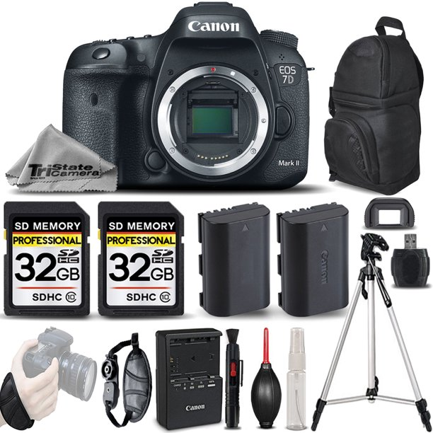Canon EOS 7D Mark II DSLR Camera Body Only + EXT BATT + WRIST GRIP - 64GB Kit